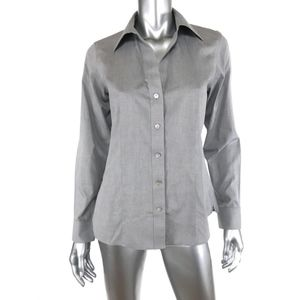 Foxcroft 4 Heritage Button Down Shirt Gray Fitted